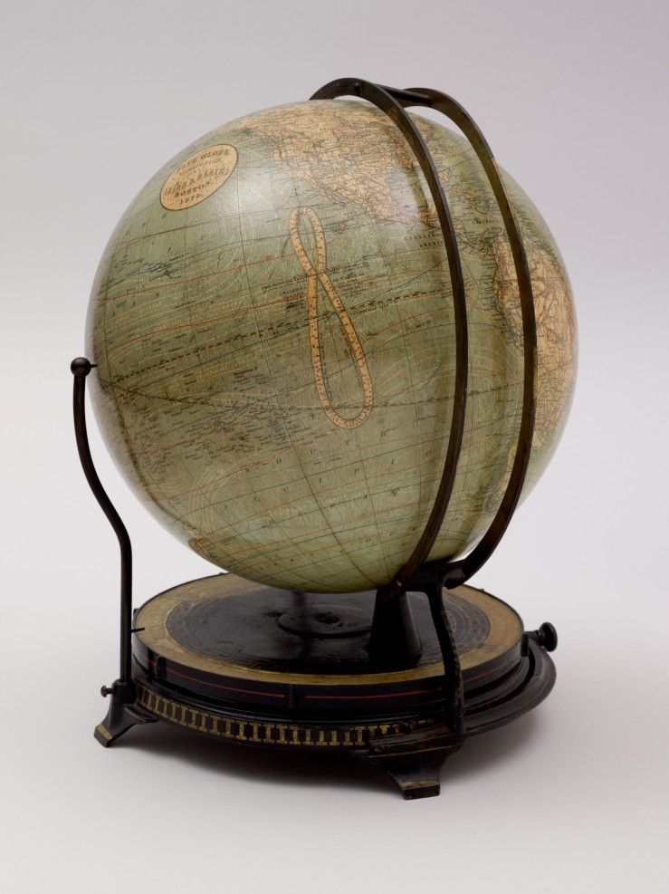Photograph of Ellen Eliza Fitz's patented globe mount with two vertical rings.